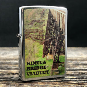 2017 Zippo Lighter - Kinzua Bridge Viaduct - Brushed Chrome