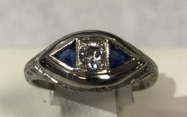 14 Karat White Gold Rose Cut Diamond & Synthetic Sapphire Antique Ring