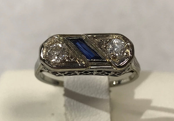 18 Karat White Gold Antique Fashion Ring with Old European Cut Diamonds & Created Sapphires