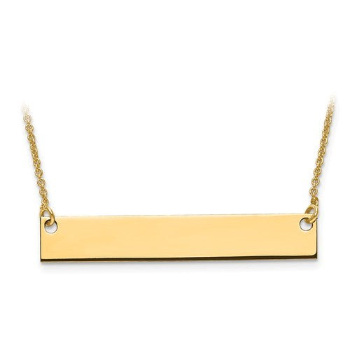 Silver or Gold Engravable Bar Necklace