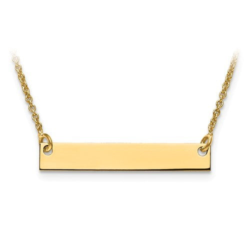 10K or 14K Gold Bar Necklace with Sonogram Heart Rhythm
