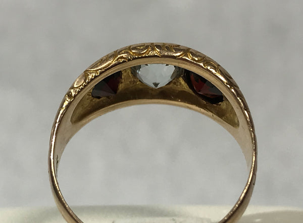 14 Karat Yellow Gold Antique Ring with Aqua & Garnets