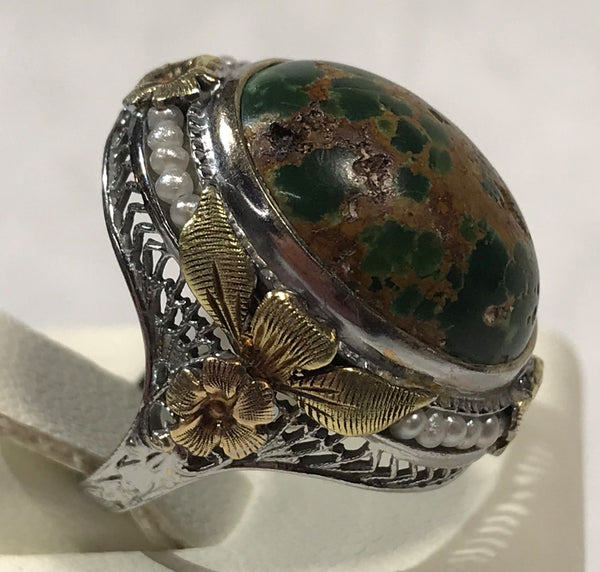 14 Karat White Yellow & Rose Gold Antique Ring with Cabochon Jasper & Seed Pearls