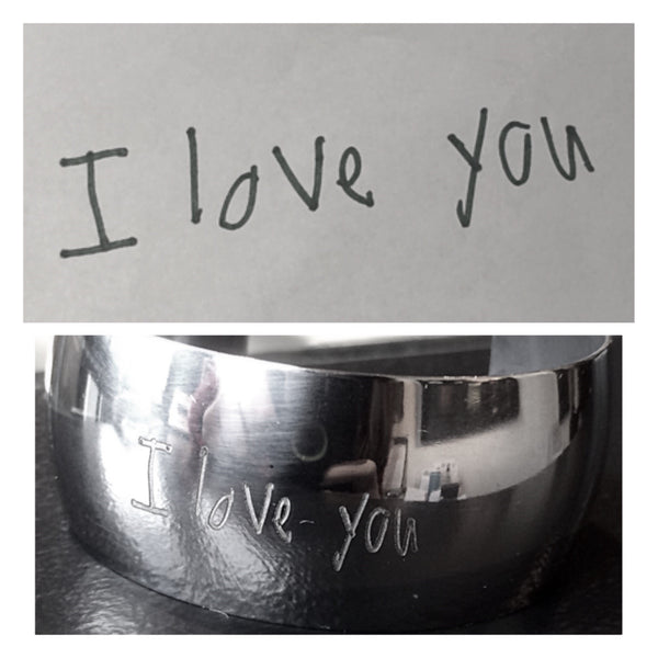 Stainless Cuff With Your Child's Handwritten Message