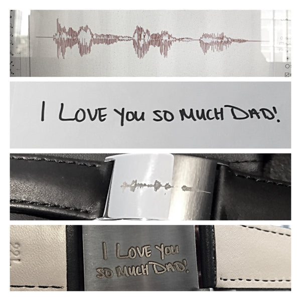 Stainless & Leather Bracelet With Your Sound Wave & Handwritten Message