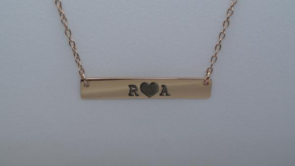 10K or 14K Gold Engravable Bar Necklace
