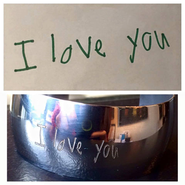 Christmas Promotion: Steel Cuff & Ornament with engraved handwritten message on each