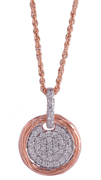 14K Pink Gold Diamond Pendant