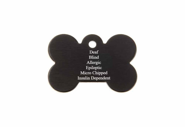 1.125 x 0.75 Inch Black Dog Bone Pet Tag
