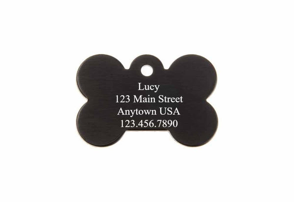 1.50 x 1.00 Inch Black Dog Bone Pet Tag