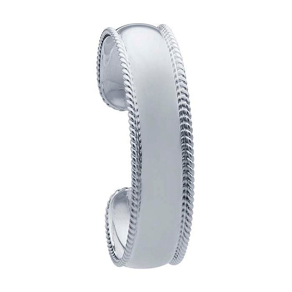Engravable Sterling Silver Rope-Edge Cuff Bracelet