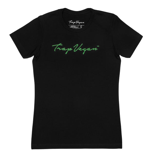 Original Women's Trap Vegan T-Shirt (Black and Green)