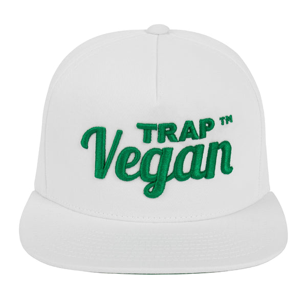 Original Trap Vegan Snapback Hat (White & Green)