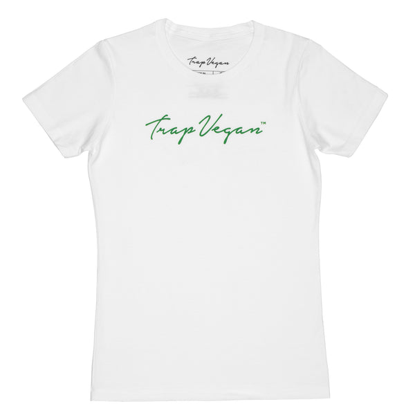 Original Women's Trap Vegan T-Shirt (White and Green)