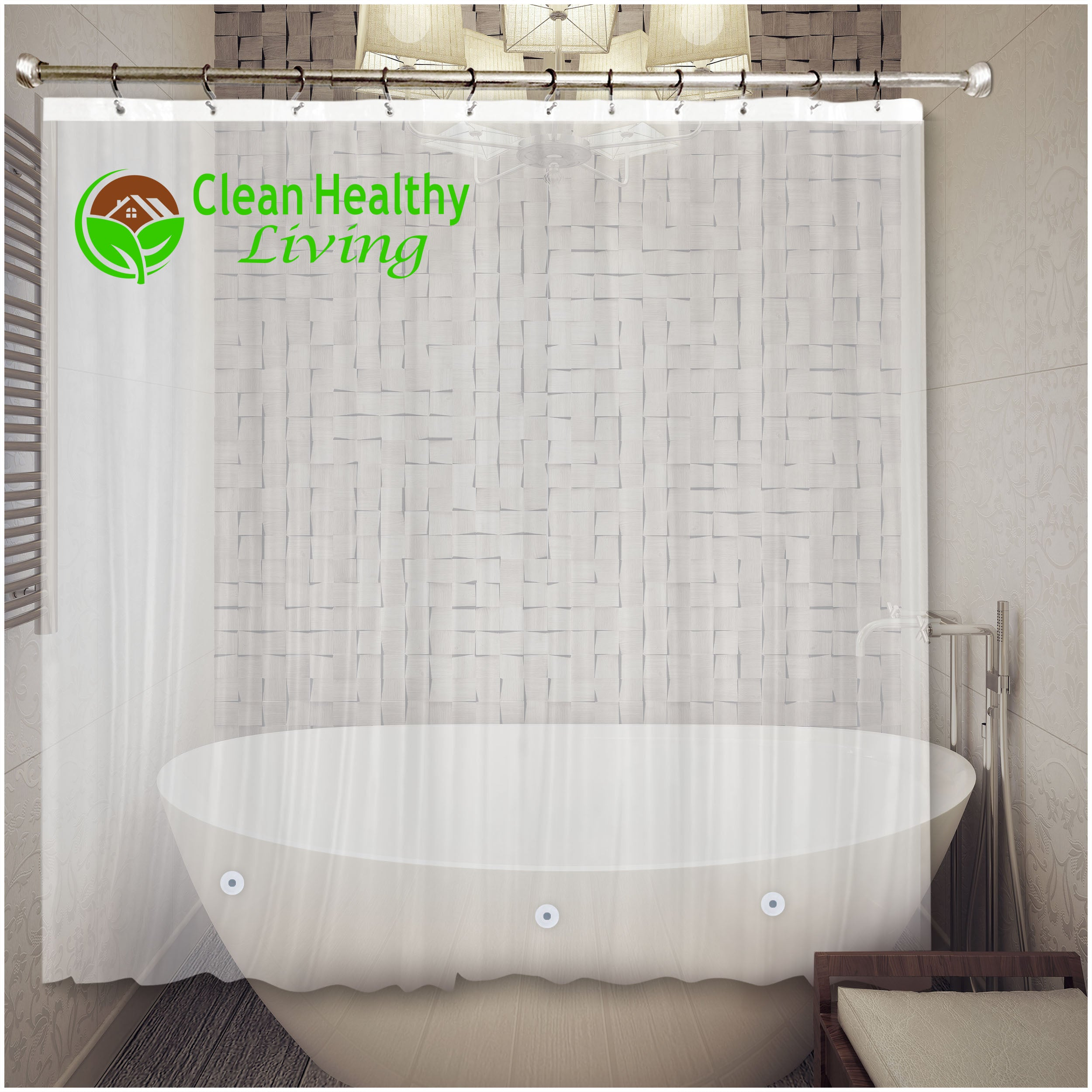 Premium PEVA Shower Liner - Clear | Clean Healthy Living