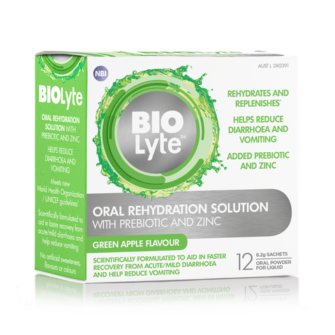 BIOLyte Oral Rehydration Solution 12 x 6.2g Sachets - Green Apple