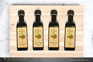 4 Small Bottle Olive Oils and Balsamic Vinegars Sampler Pack< Fig & Garlic Cilantro Balsamic Vinegars (Italy), Roasted Garlic & Jalapeno Olive Oils (Cold Pressed) - TheFlavoredOlive