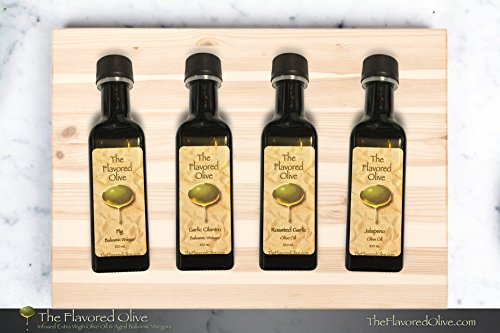 4 Small Bottle Olive Oils and Balsamic Vinegars Sampler Pack< Fig & Garlic Cilantro Balsamic Vinegars (Italy), Roasted Garlic & Jalapeno Olive Oils (Cold Pressed)