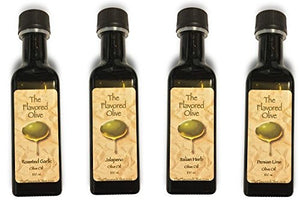 4-Pack Small Bottle Olive Oil Sampler : Olive Oil Flavors Include- Italian Herb, Persian Lime, Roasted Garlic, Jalapeno - TheFlavoredOlive