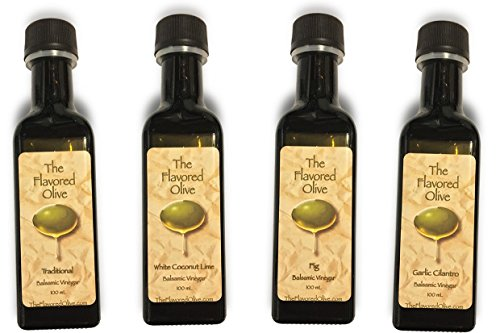 4 Pack, Cold Pressed Aged Balsamic Vinegar Sampler Pack,  Made In Italy, Fig, Traditional, Garlic Cilantro, White Coconut Lime - TheFlavoredOlive
