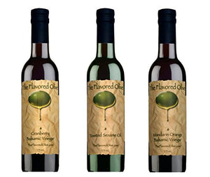 3 Pack Assorted Flavors, Cranberry Balsamic & Mandarin Orange Balsamic Vinegars (Italy), Toasted Sesame Oil - TheFlavoredOlive