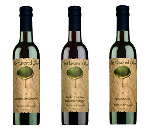 3 Pack Assorted Flavors, Garlic Cilantro Balsamic Vinegar (Italy), Garlic Infused Avocado Oil, Garlic and Ginger Toasted Sesame Oil - TheFlavoredOlive