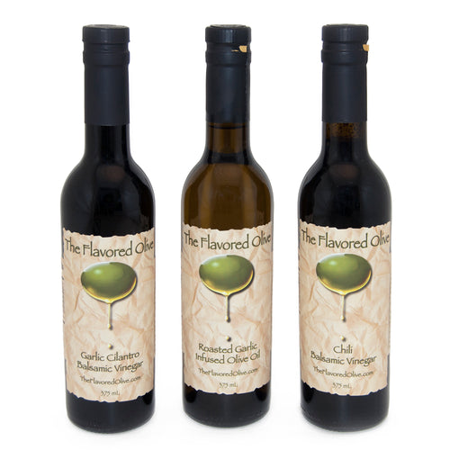 3 Pack Assorted Flavors, Chile & Garlic Cilantro Balsamic Vinegars (Italy), Roasted Garlic Olive Oil - TheFlavoredOlive
