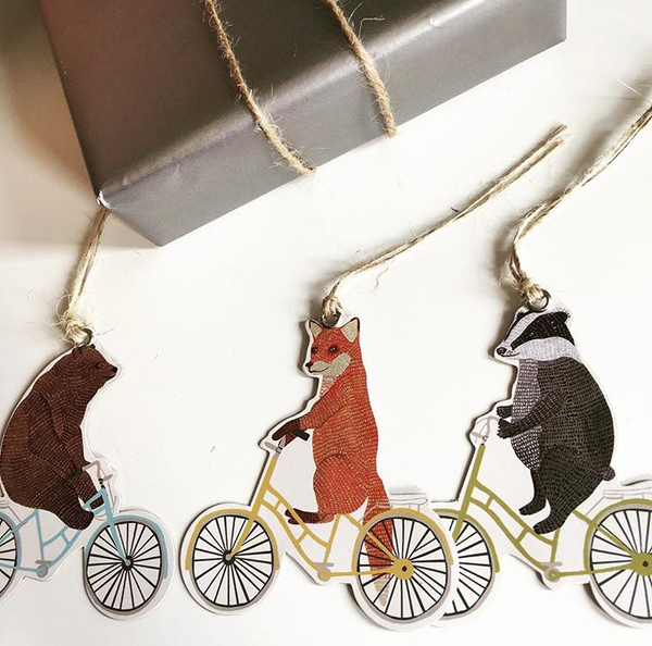Happy Animals On Bikes Gift Tags (CR069)