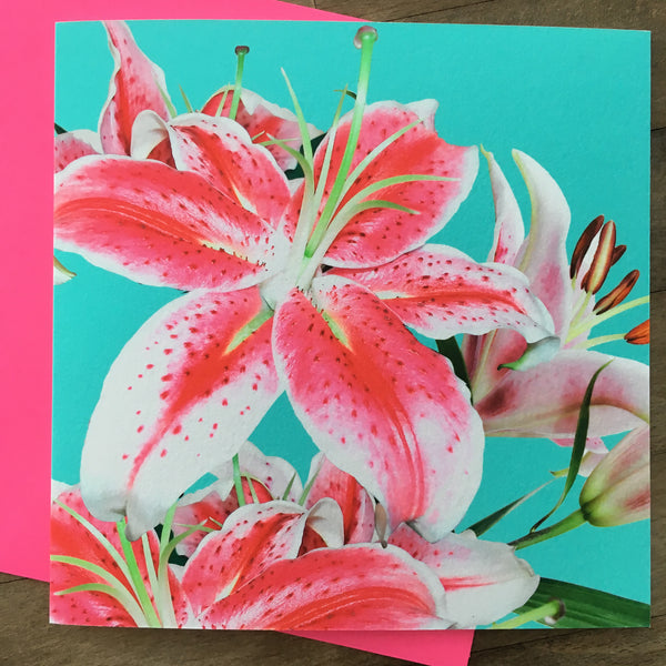 Card - Neon Photo Flowers (PF12GC)