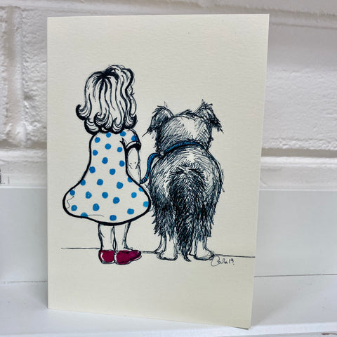 Card - Girl & Her Dog