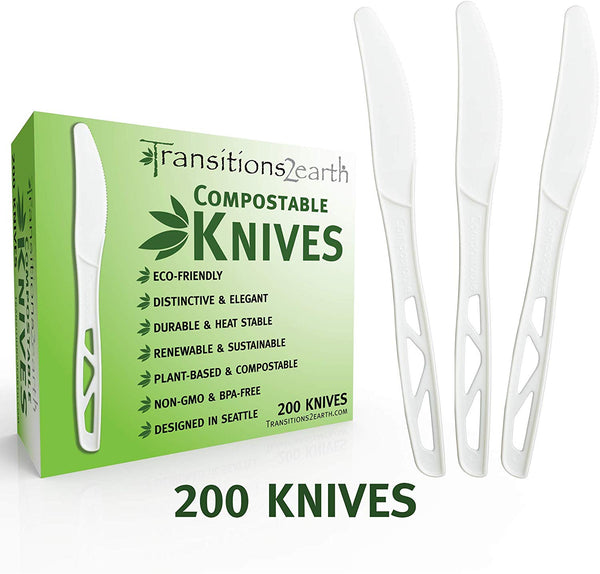 Compostable Forks, Knives and Spoons - White