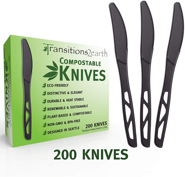 Compostable Forks, Knives and Spoons - Black