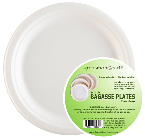"Transitions2earth™ Biodegradable/ Compostable 9"" Bagasse Plates"