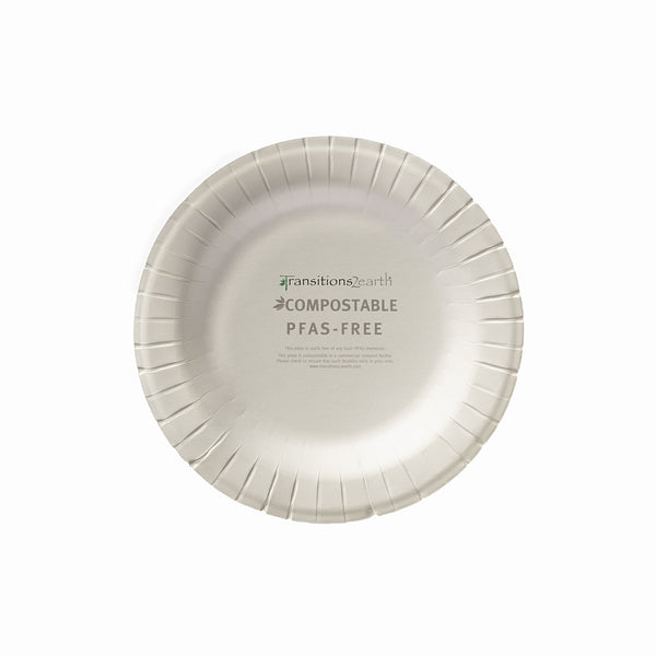 "Transitions2earth PFAS-Free Non-Toxic Compostable 6"" Round Plate - Package of 100 - Plant a Tree With Each Item Purchased!"
