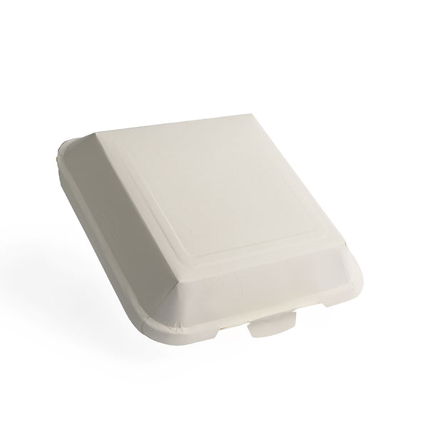"Transitions2earth PFAS-Free Non-Toxic Compostable 7.5"" Square Clamshell Takeout Container - Package of 100 - Plant a Tree With Each Item Purchased!"