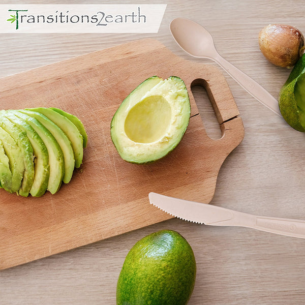 Transitions2earth AVOPLAST Spoons – Made from Upcycled Avocado Seeds – 200 Count