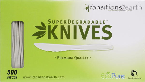 Transitions2earth Biodegradable EcoPure Knives - Box of 500