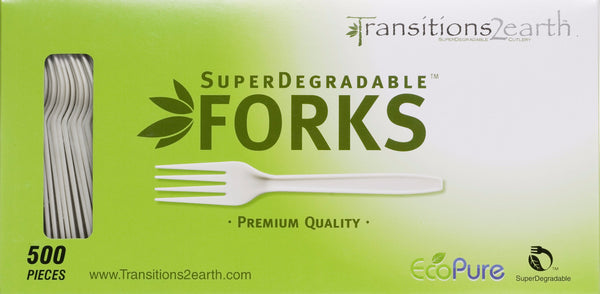 Transitions2earth Biodegradable EcoPure Forks - Box of 500