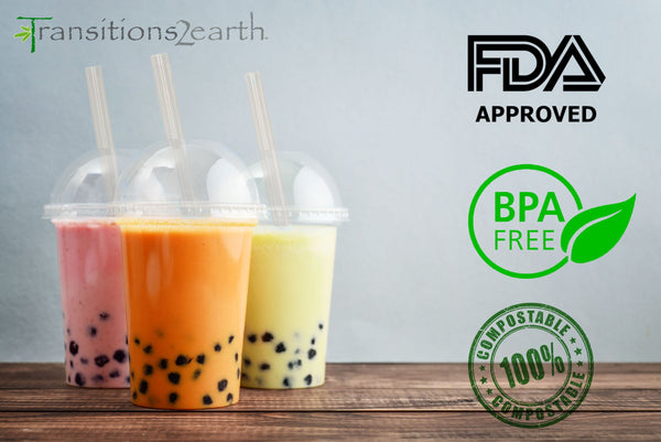 Compostable Boba Tea (Bubble Tea) 8-inch Straw with Angled Cut - 250 count