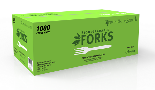 Transitions2earth Biodegradable EcoPure Lightweight Forks - Box of 1000