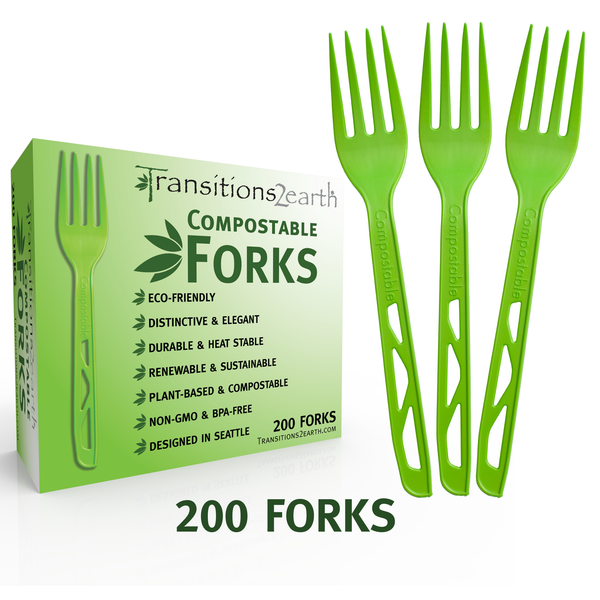 Compostable Forks, Knives and Spoons - Green