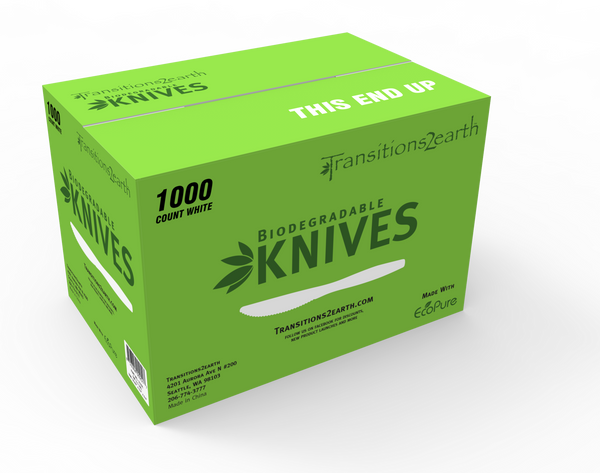 Transitions2earth Biodegradable EcoPure Lightweight Knives - Box of 1000