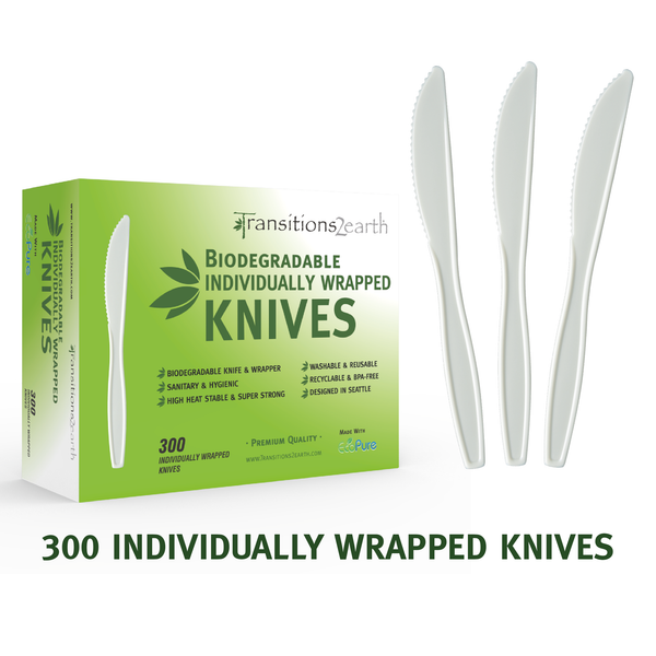 Transitions2earth Biodegradable EcoPure Individually Wrapped Knives - Box of 300 - Plant a Tree With Each Item Purchased!