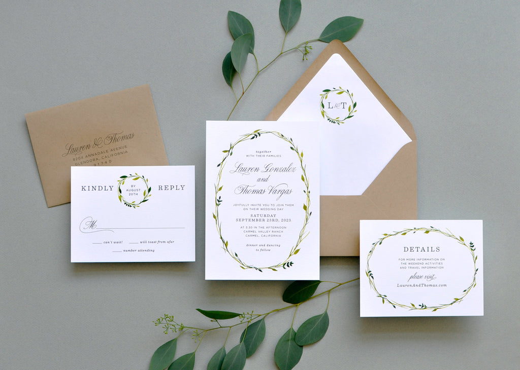 Delicate Wreathe Custom Wedding Invitation