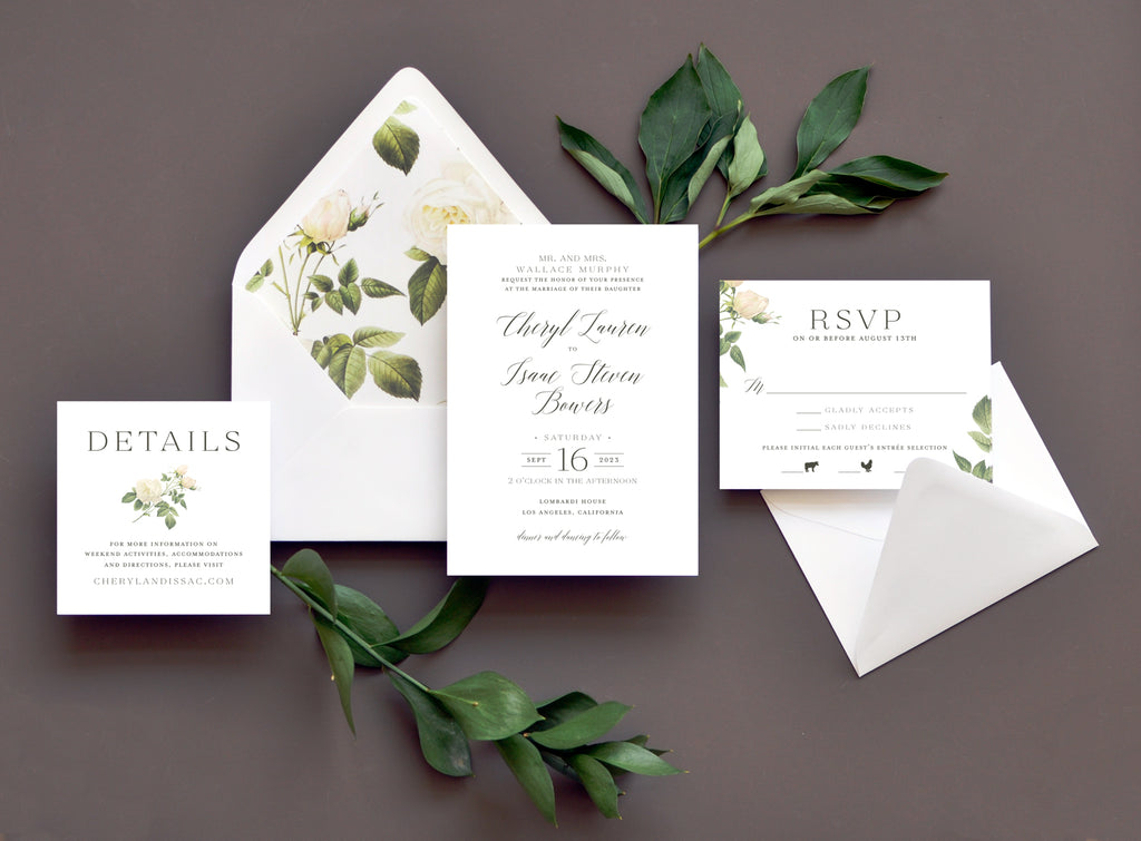 Elegant Floral Custom Wedding Invitation