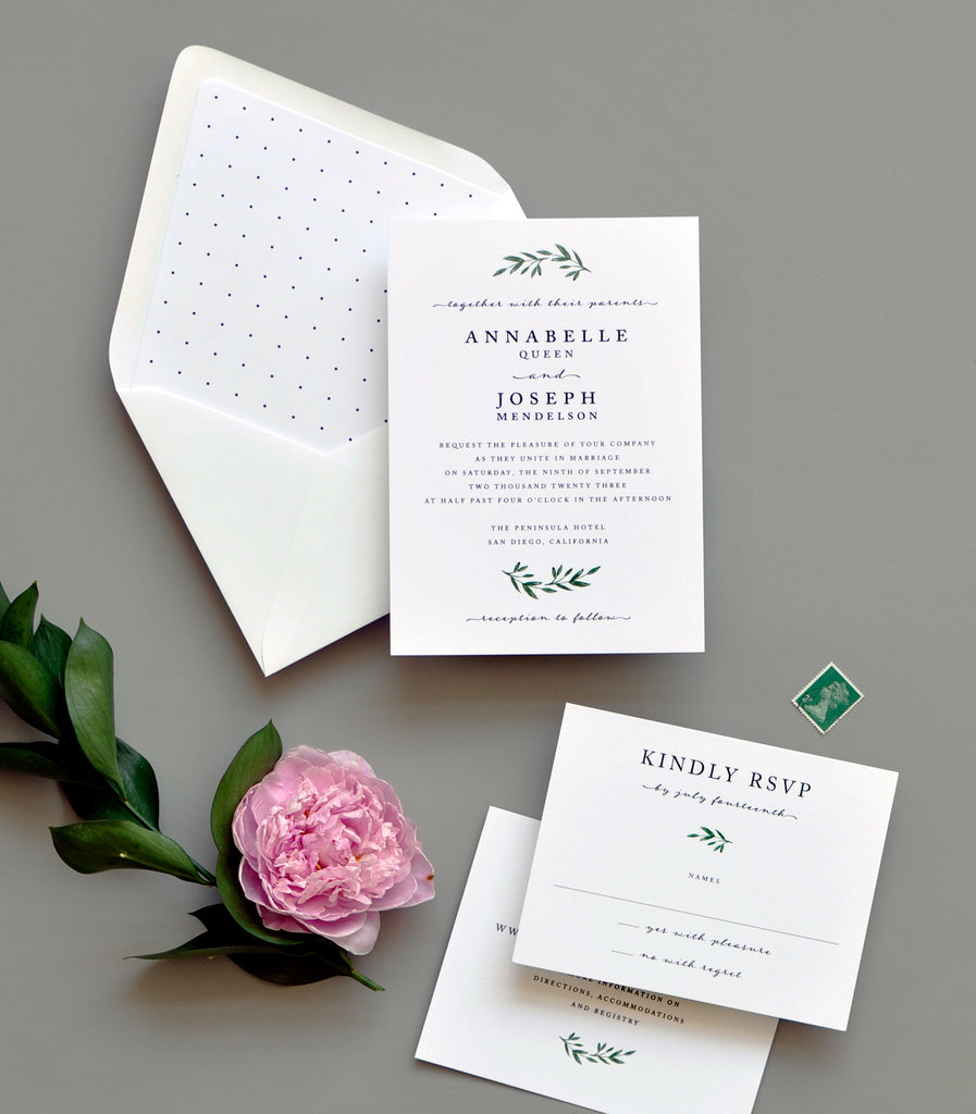 Smitten Modern Greens Invitation
