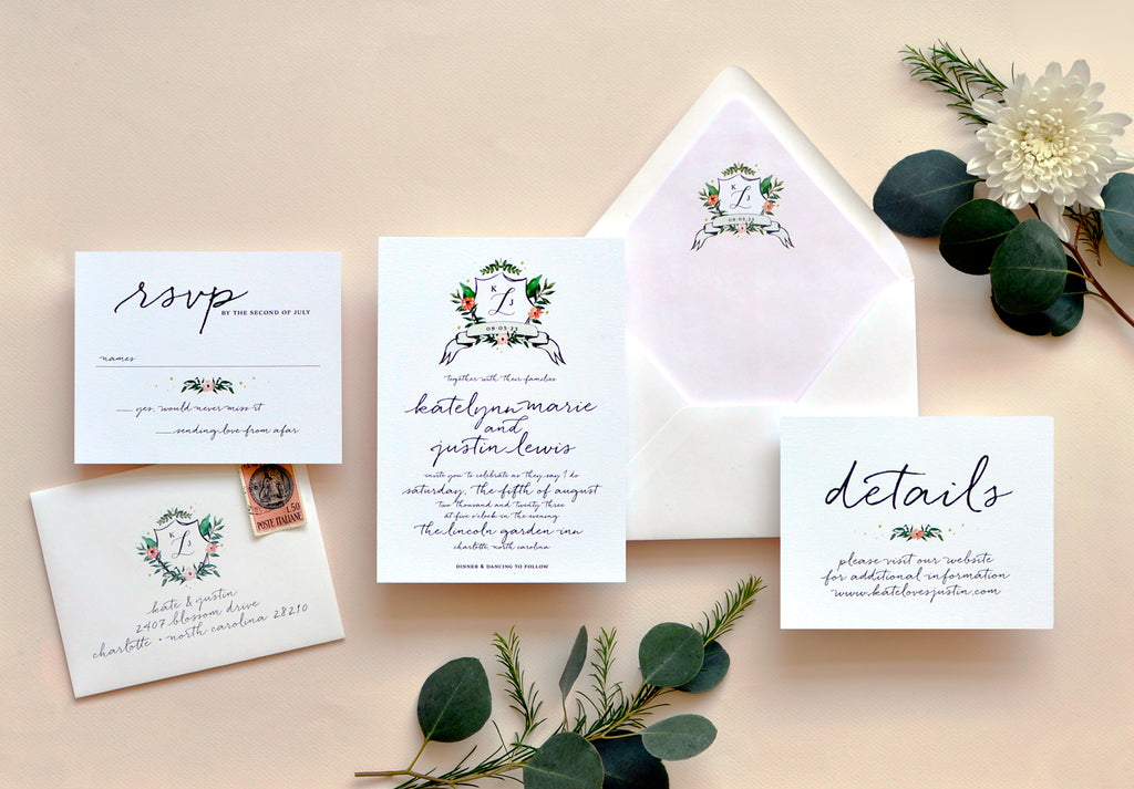 Watercolor Crest Custom Wedding Invitation