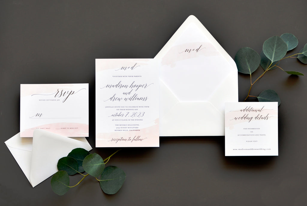 Watercolor Swash Custom Wedding Invitation