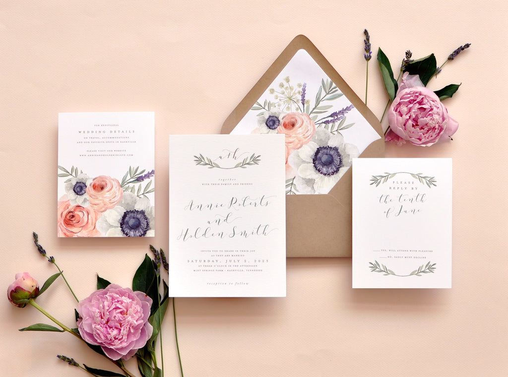 Wild Rose Custom Wedding Invitation