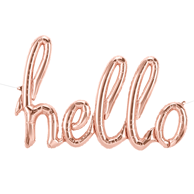 Hello Script Balloon Banner North Star Balloons - Cork Collection